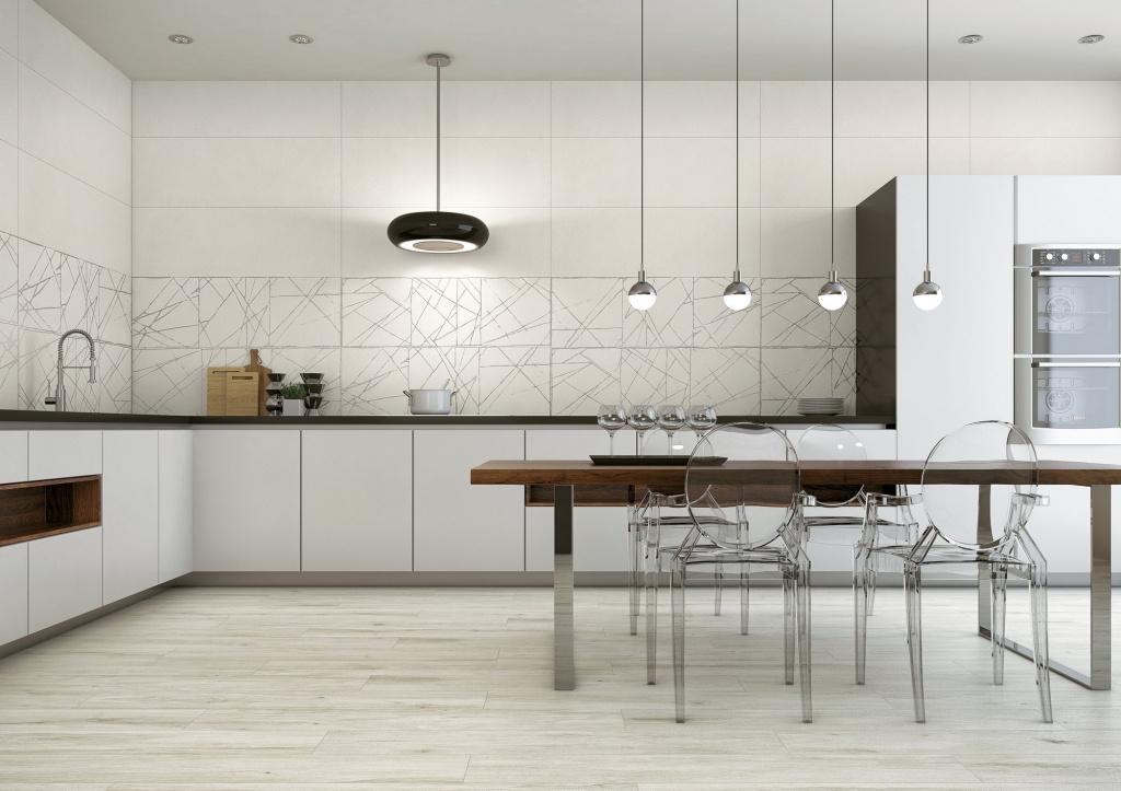 Bílé obklady za kuchyňskou linku APE Click