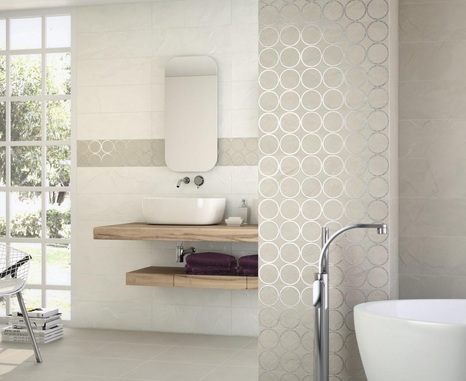 Obklad do koupelny s motivem stříbrných koleček Ape-Lugano
