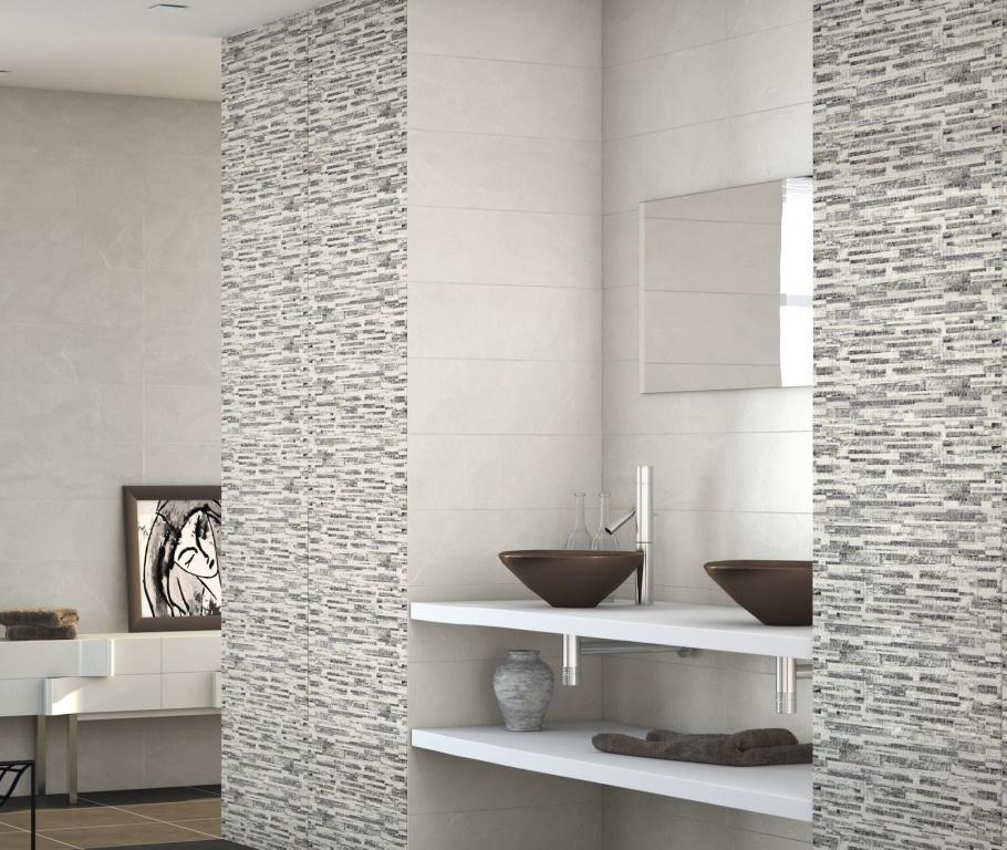 Obklad do koupelny s motivem mozaiky šedá Ape-Lugano