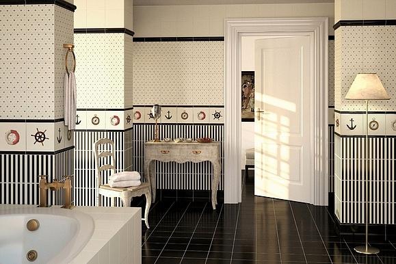 Bíločerné koupelnové obklady v barokním stylu Apegrupo Lord