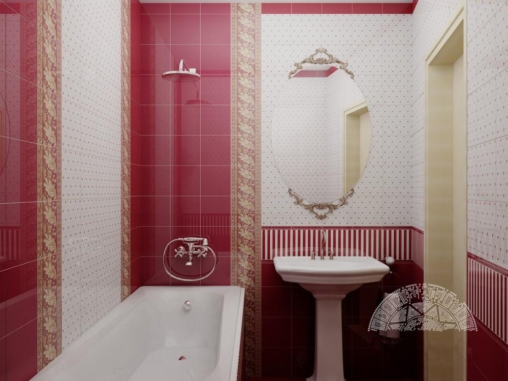 Červenobílé koupelnové obklady v barokním stylu Apegrupo Lord