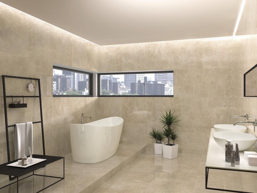 Béžový čtvercový porcelánový koupelnový obklad Borgogna od výrobce APE