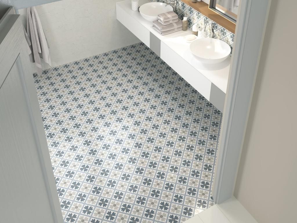 Moderní dlažba do koupelny se vzory od výrobce Ape Fiorella