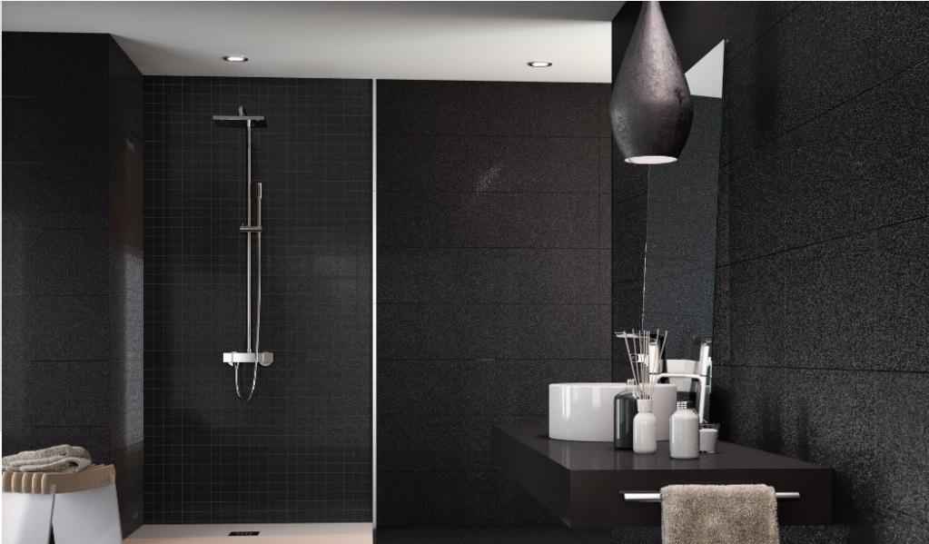 Černošedý koupelnový obklad Ape Star City