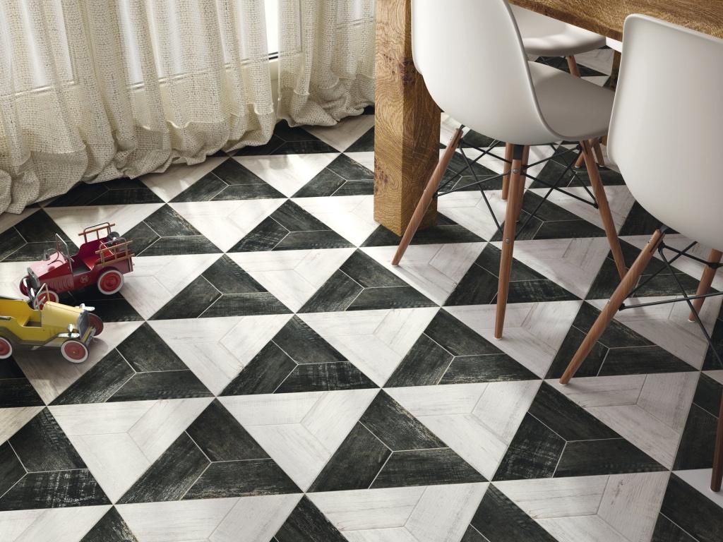 Interiérová dlažba vytvářející trojúhelníky od výrobce Ape Palermo