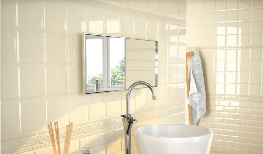 Bílé koupelnové obklady se vzorem Carmen Caprichosa