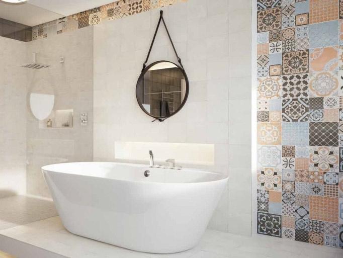 Bílý obklad s dekorem patchwork Del conca Abbazie AB 71, AB 18 Mosaico / Notre Dame