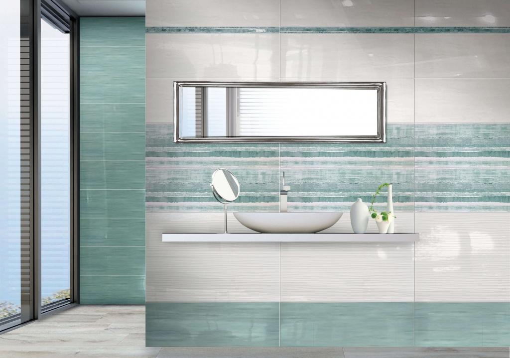 Lesklý obklad do koupelny v barvě moře od výrobce Brennero Acqua