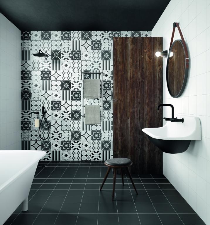 Luxusní koupelnový obklad se VZORY Sant Agostino Patchwork Black & White