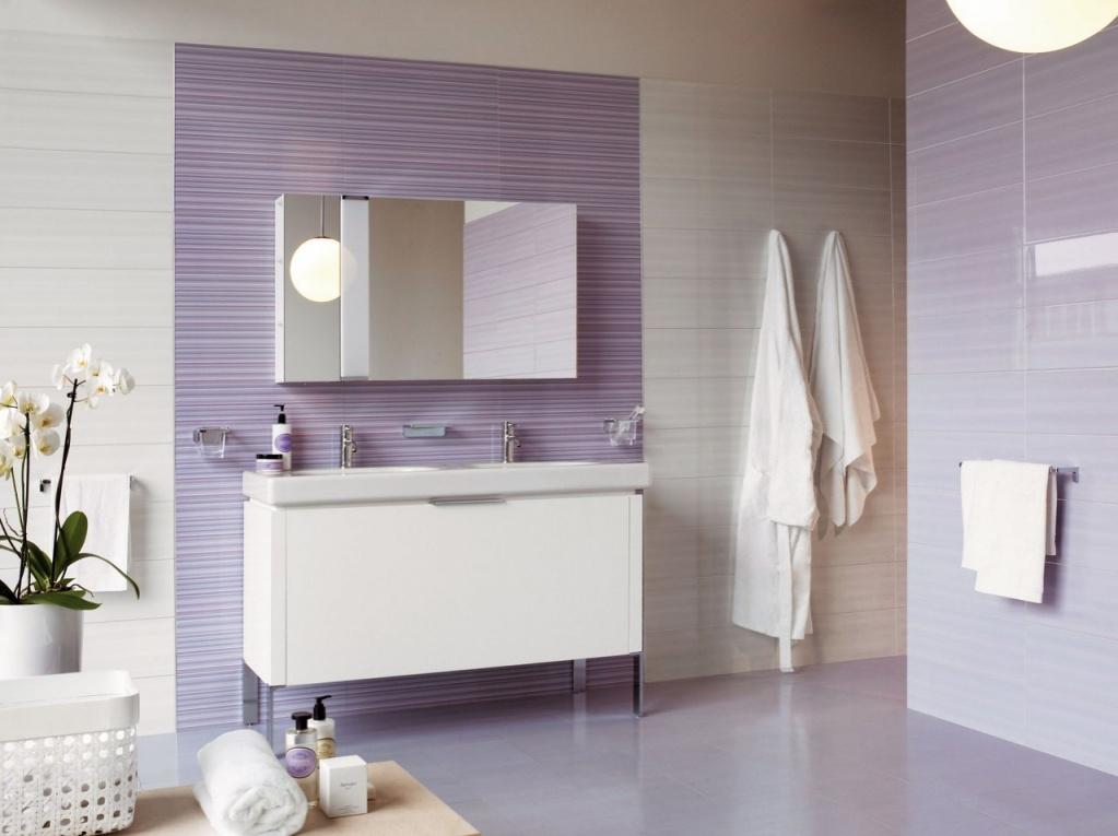 Fialový obklad s proužky do koupelny od výrobce Sant Agostino Light