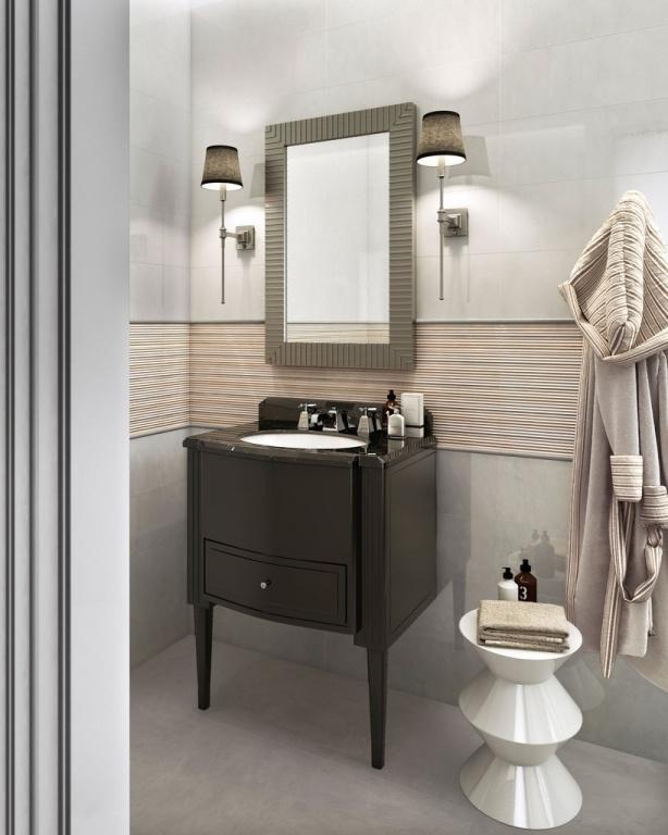 Pruhovaný světlý obklad do koupelny od výrobce Sant Agostino Marblelux