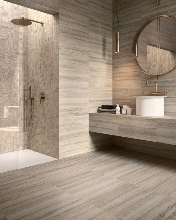 Koupelna v imitaci kamene travertin od výrobce Sant Agostino Tipos