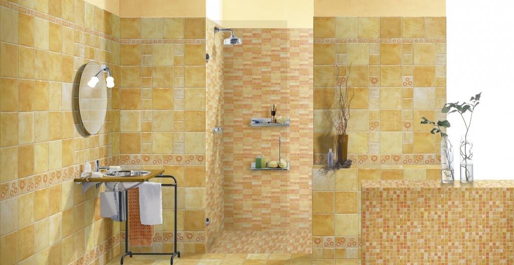 Žluto-oranžová veselá koupelna od výrobce Elios Mithos