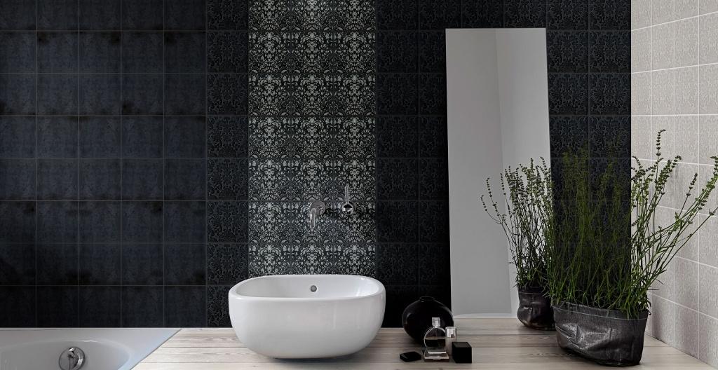 Tmavé obklady se vzorem a hladké bez vzoru do koupelny od výrobce Elios Capri