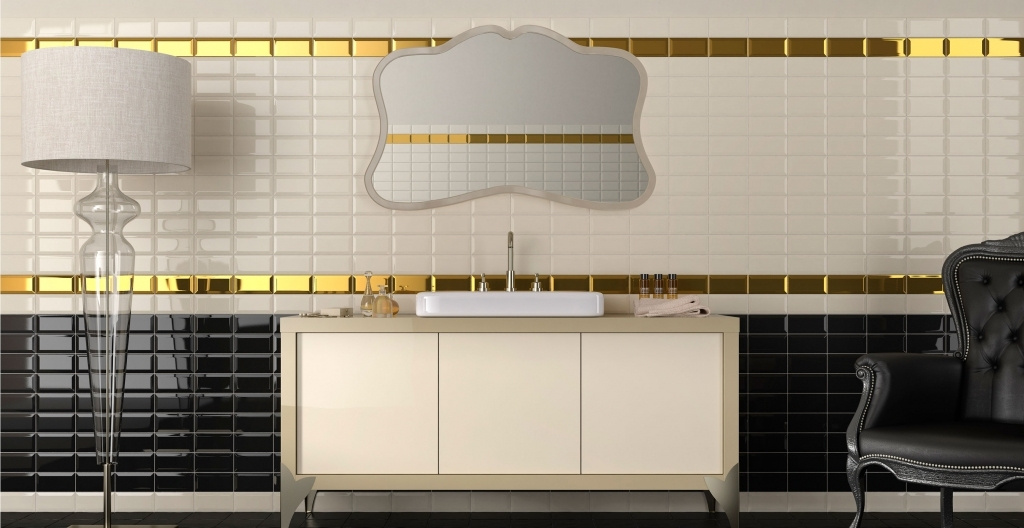 Černé, zlaté a bílé obklady do koupelny od výrobce Elios Epoque
