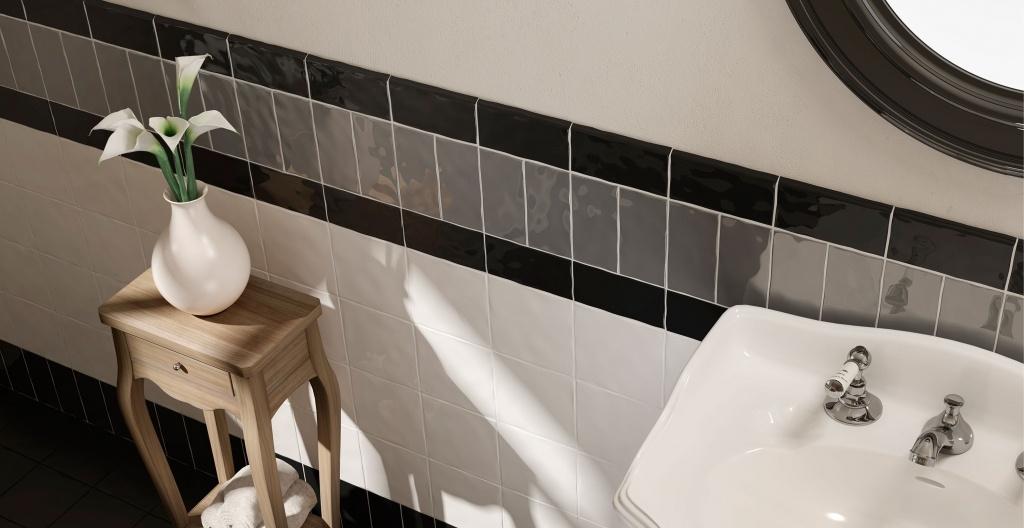 Bílé, černé a šedé obklady do koupelny od výrobce Elios Epoque