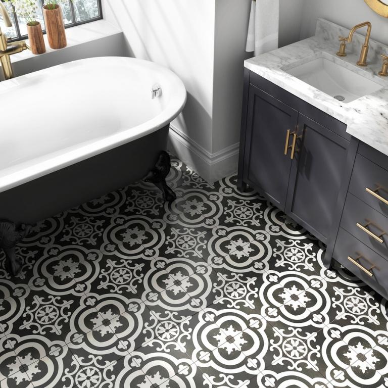 Dlažba vhodná do koupelny i obýváku Cementina Black and White (Del Conca Faetano)