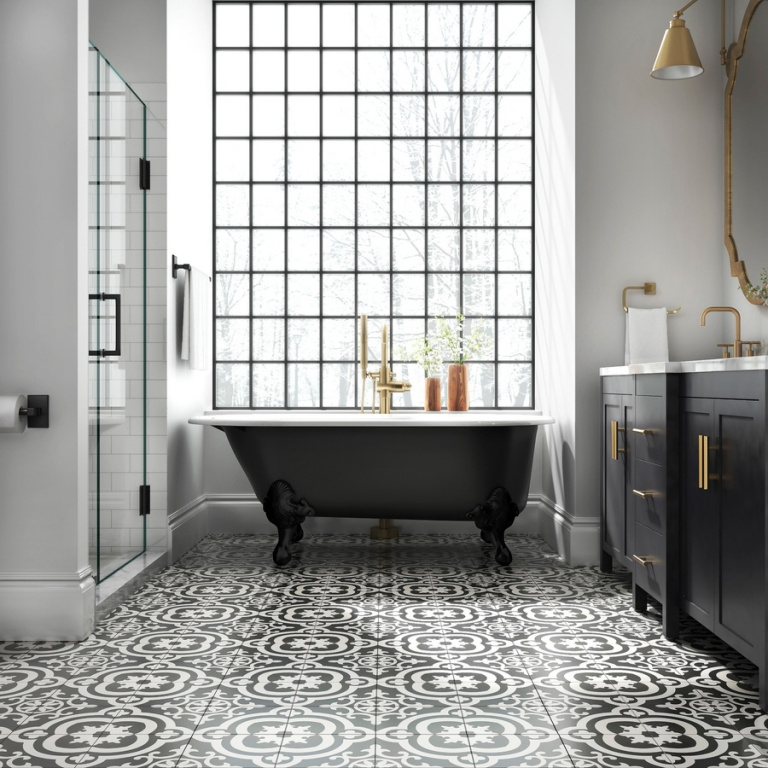Elegantní dlažba Cementine Black and White (Del Conca Faetano)