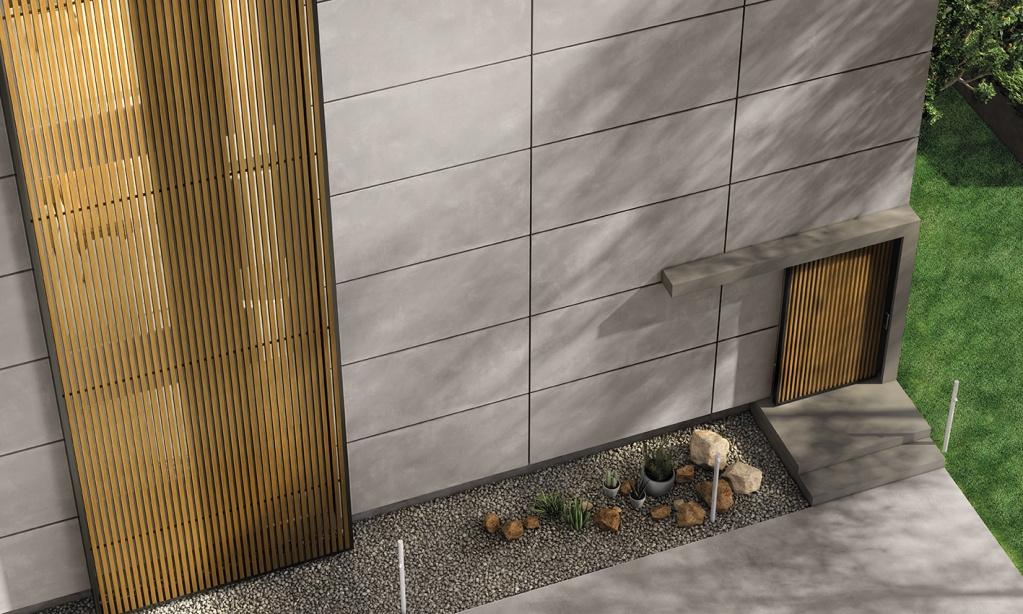 Venkovní šedý fasádní obklad od výrobce Ariana Ceramica Concrea Plain