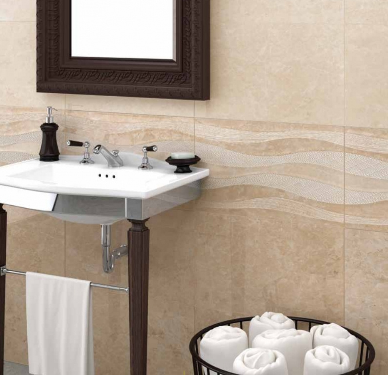 Béžový, krémový obklad a zvlněný obklad do koupelny od výrobce Ecoceramic Eleganza