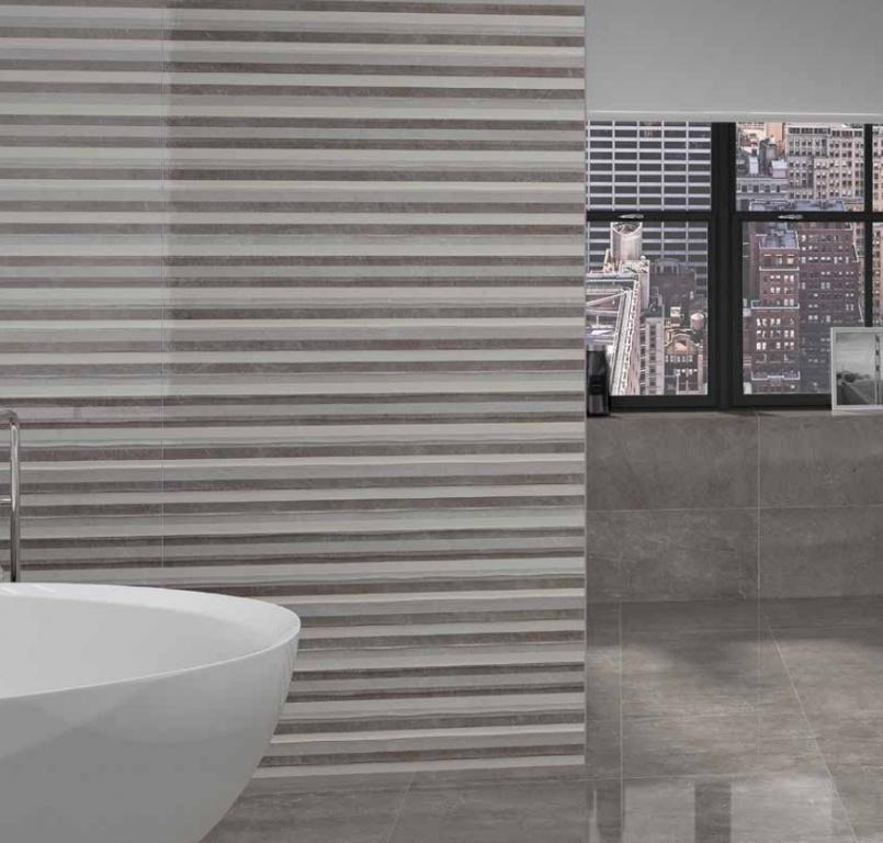 Zajímavý pruhovaný obklad do koupelny od výrobce Ecoceramic Bellagio Brillo