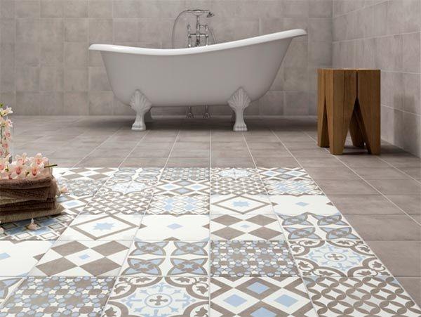 Šedá dlažba a dlažba s množstvím vzorů do koupelny od výrobce Ecoceramic Great