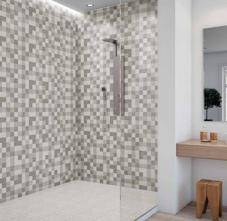 Kostičkovaný bílo-šedý obklad do sprchového koutu od výrobce Ecoceramic Norwich