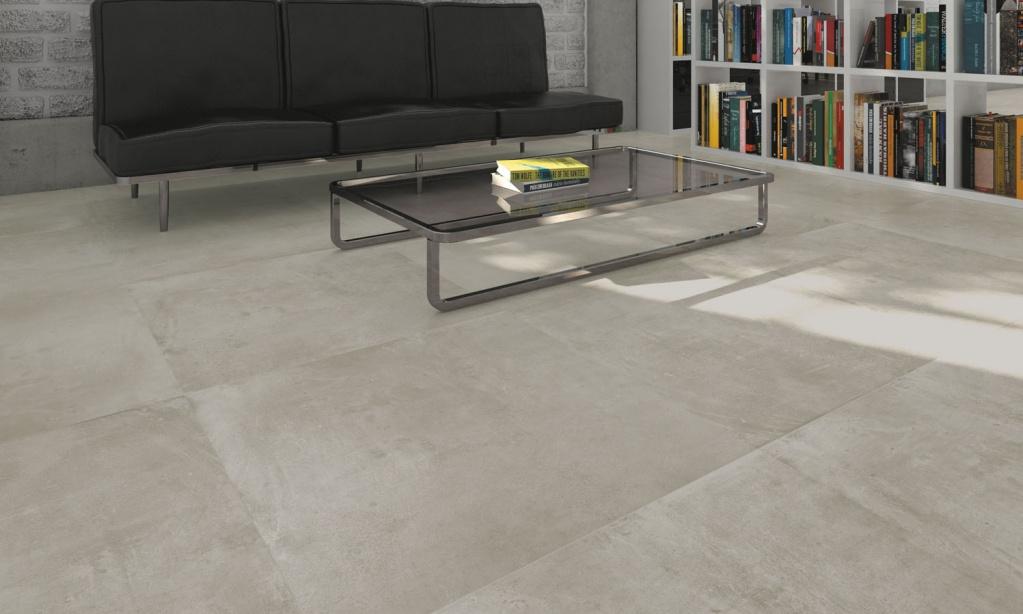 Dlažba imitace betonu s polomatným šedým odstínem Ceramice Aleluia Valle Grey