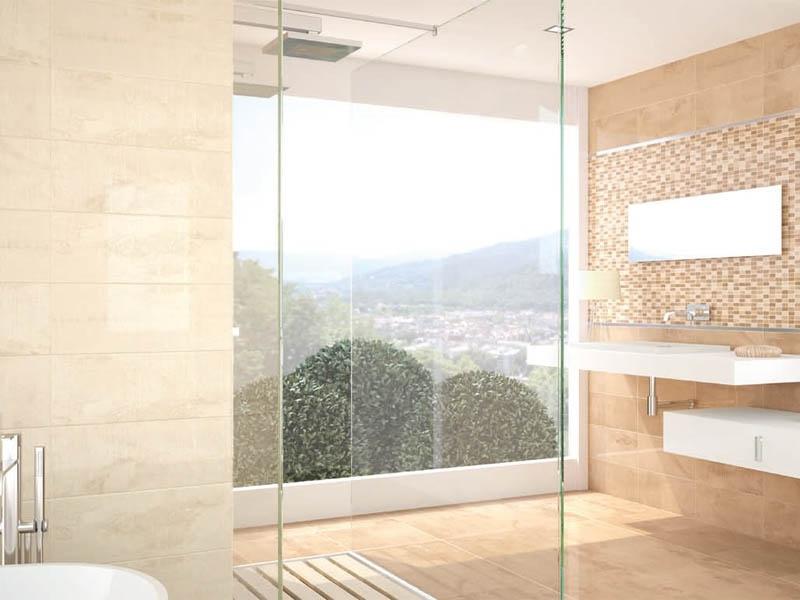 Béžové praktické a líbivé obklady s mozaikou do koupelny APE Concorde