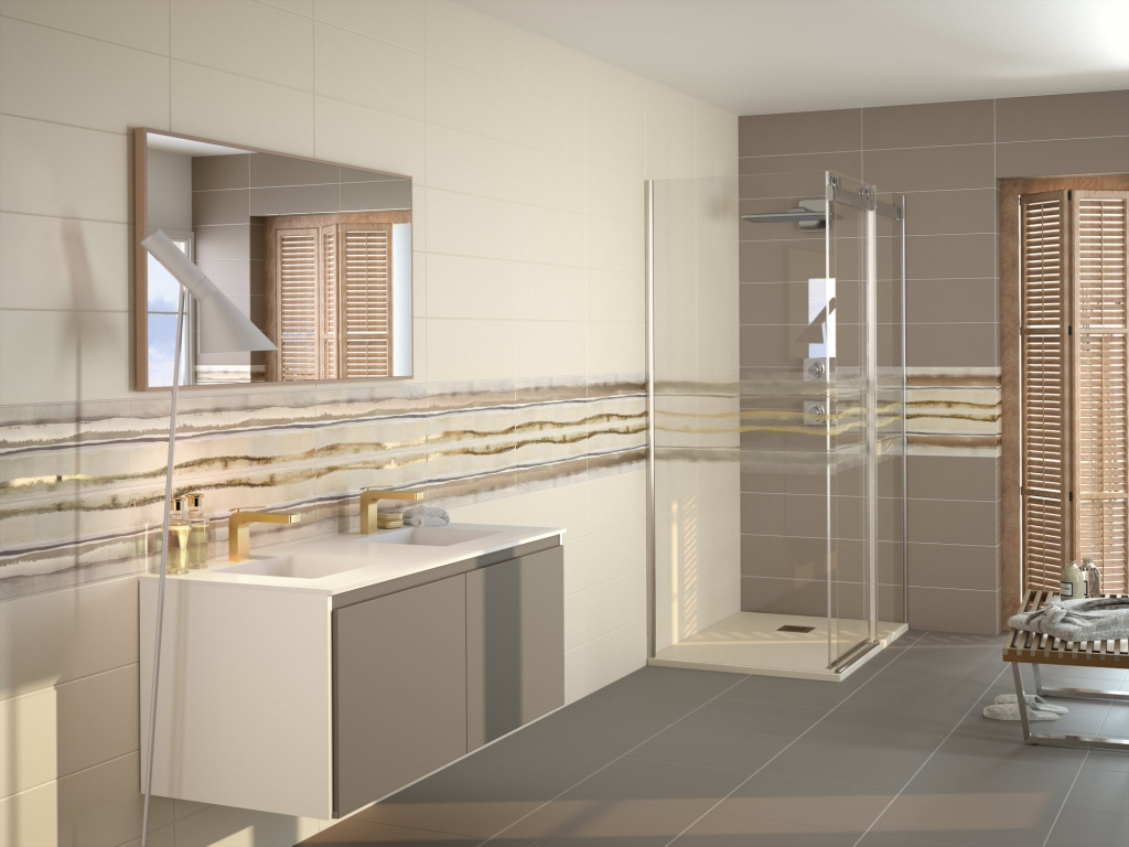 Elegantní jednoduchá koupelna s proužkem do koupelny od výrobce Ape Home