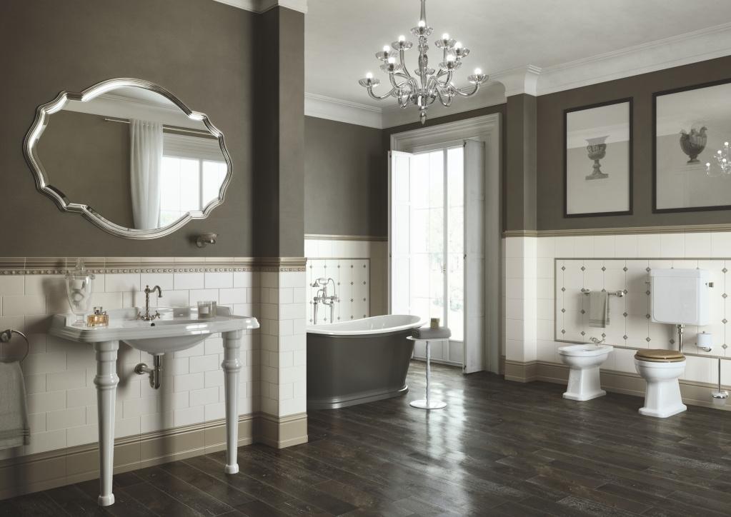 Obklad do luxusní velké koupelny Ceramiche Grazia Amarcord Beige a Tobacco
