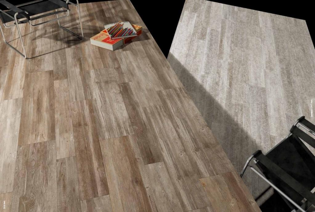 Dlažba imitace dřeva působící teplým dojmem Del Conca Da Vinci  DV9 + DV5