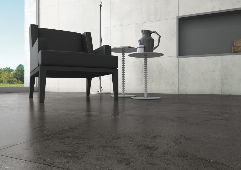 Elelgantní hnědá dlažba a šedobílý obklad Aleluia Ceramicas Concrete