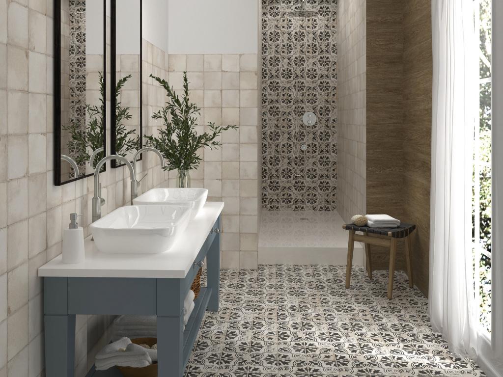 Retro koupelna v nádherném skloubení dekorů a jednoduché obkladačky APE Carmen Village