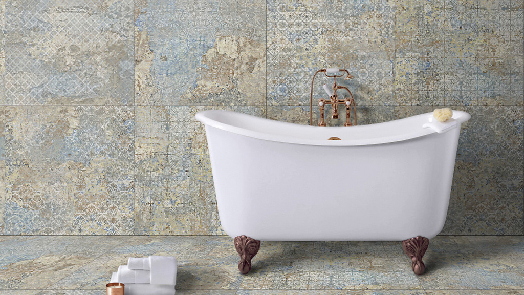 Dekorativní obklad i dlažba s prvky kovu, krajky a tapety Aparici Carpet