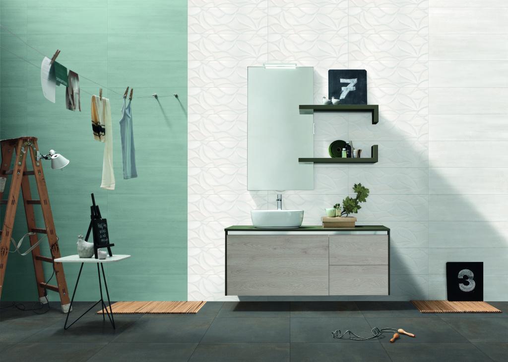 Jednoduchá zeleno bílá koupelna Mariner Colors