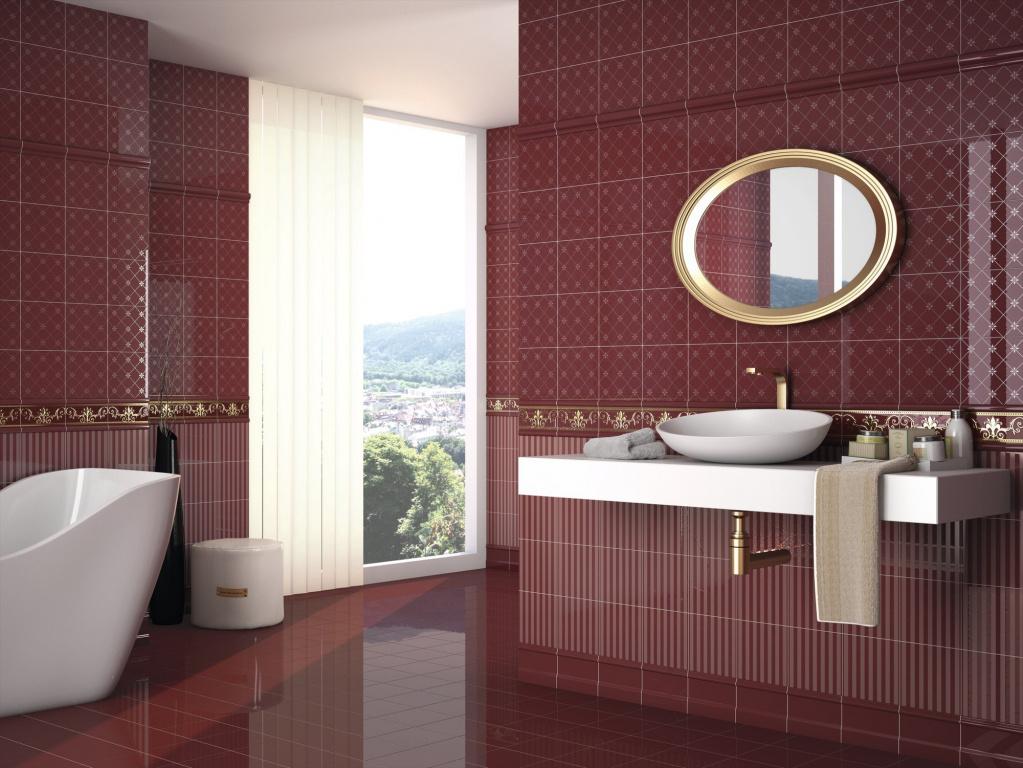 Obklady s výraznou červenou barvou a jemným dekorem - Noblesse Burdeos 20x20