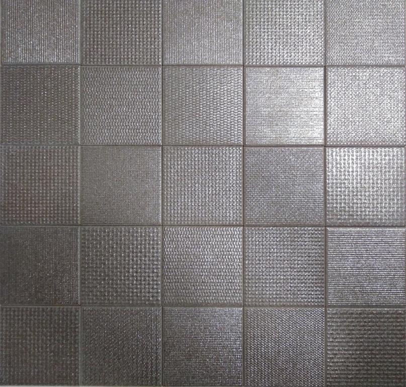 Deceram Struttura Titanio 10x10 - dlažba se vzory v kovovém designu