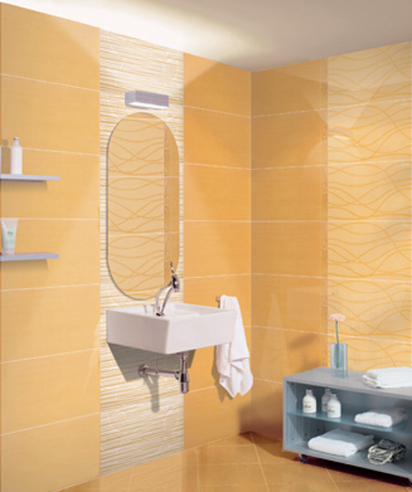 Moderní oranžový obklad a dlažba do koupelny Melodia della Natura