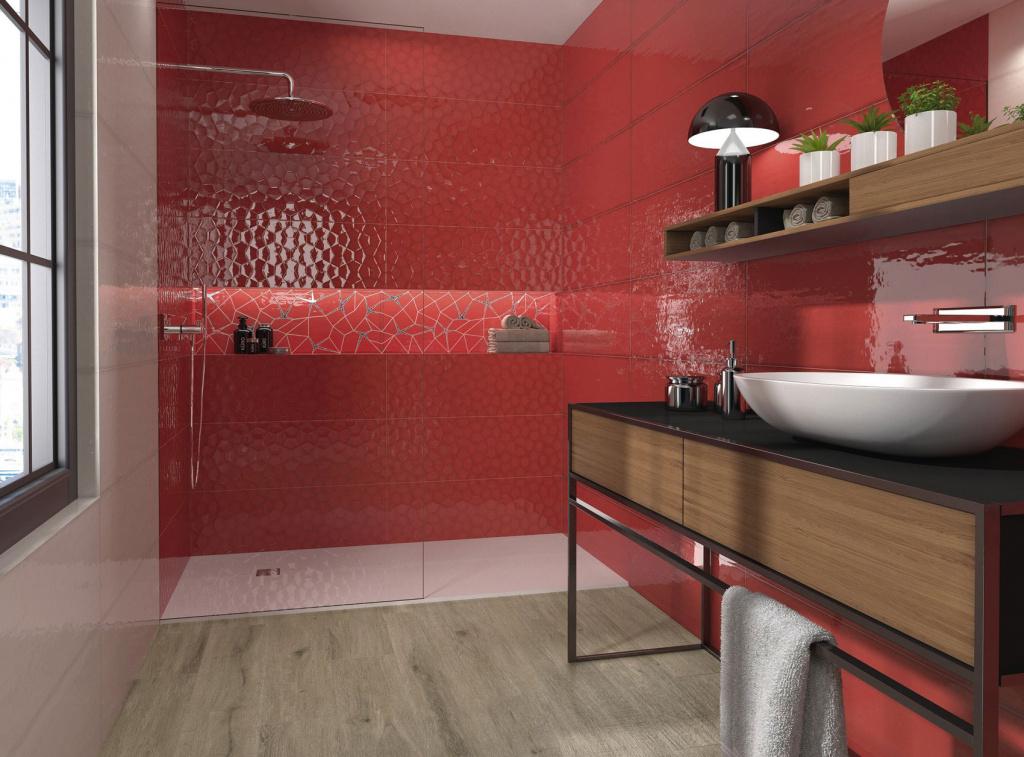 Lesklý červený obklad do koupelny Ape Allegra