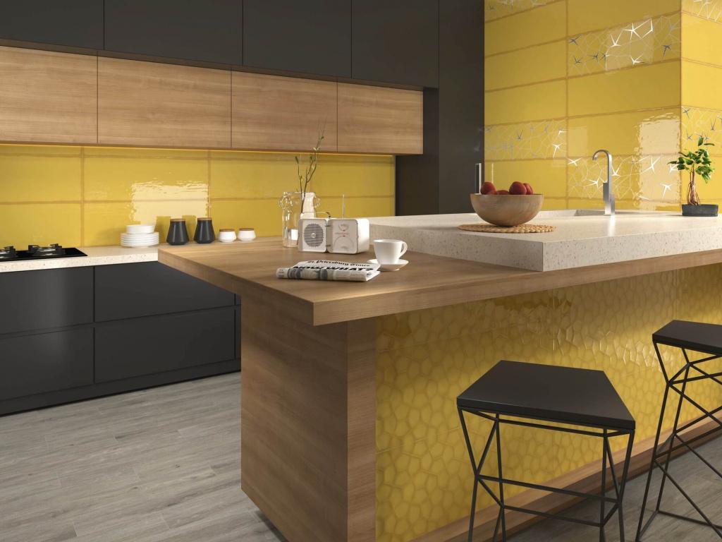 Lesklý žlutý obklad do kuchyně Ape Allegra