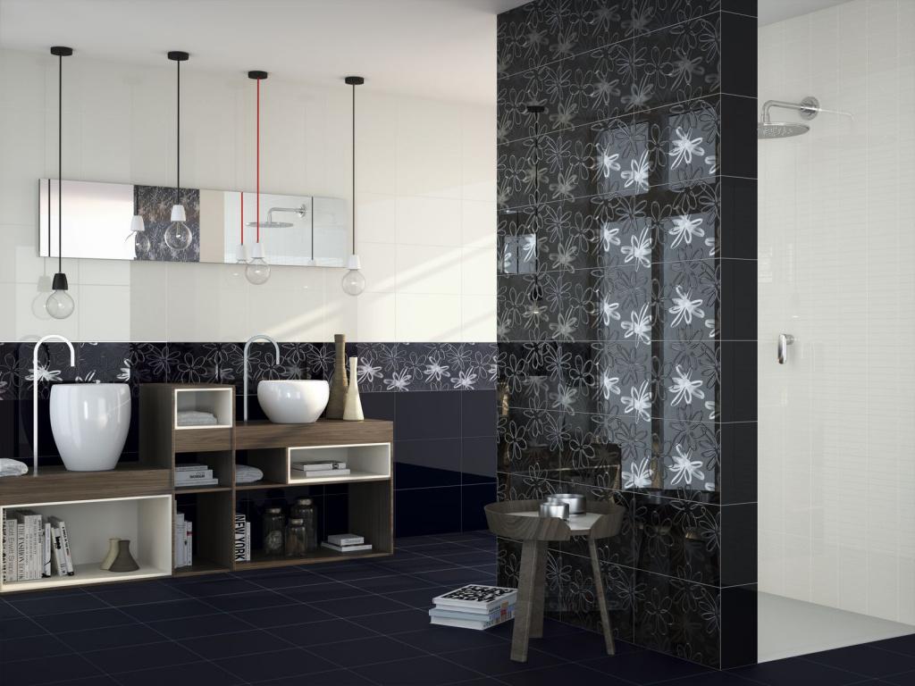 Elegantní černé koupelnové obklady Ape Duma