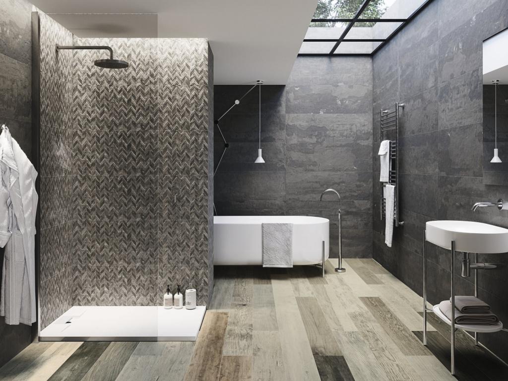 Tmavé koupelnové obklady v imitaci betonu Ape Leeds