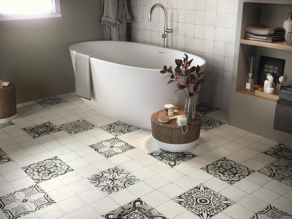 Retro koupelna s dlažbou a obklady Ape Carmen Savona