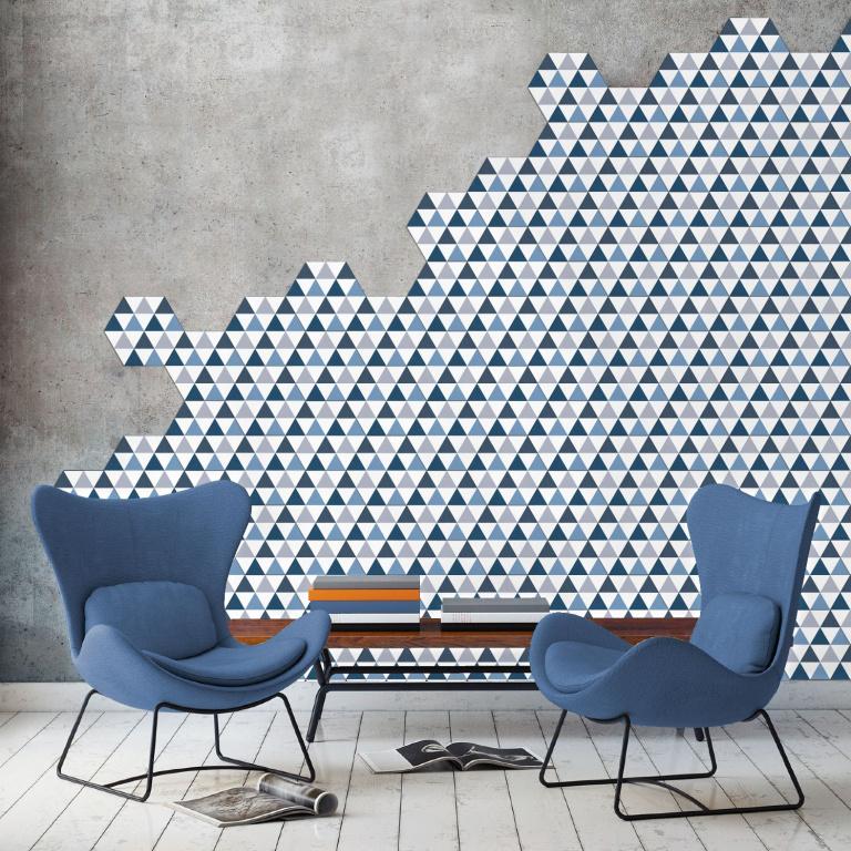 Obklad se vzorem trojúhelníků v neobvyklém formátu Hexagonal Codicer Hex 25 Delta Blue