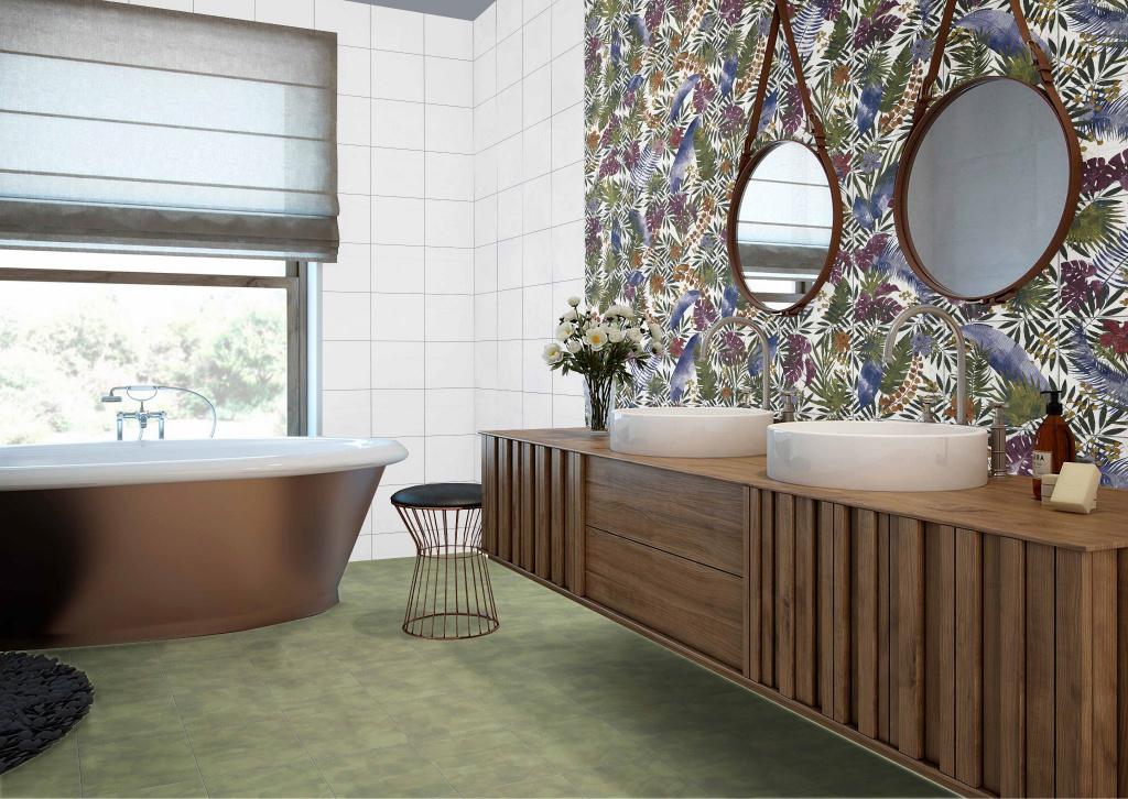 Jarní koupelna v rozmarných barvách Codicer Tahiri Garden a Green