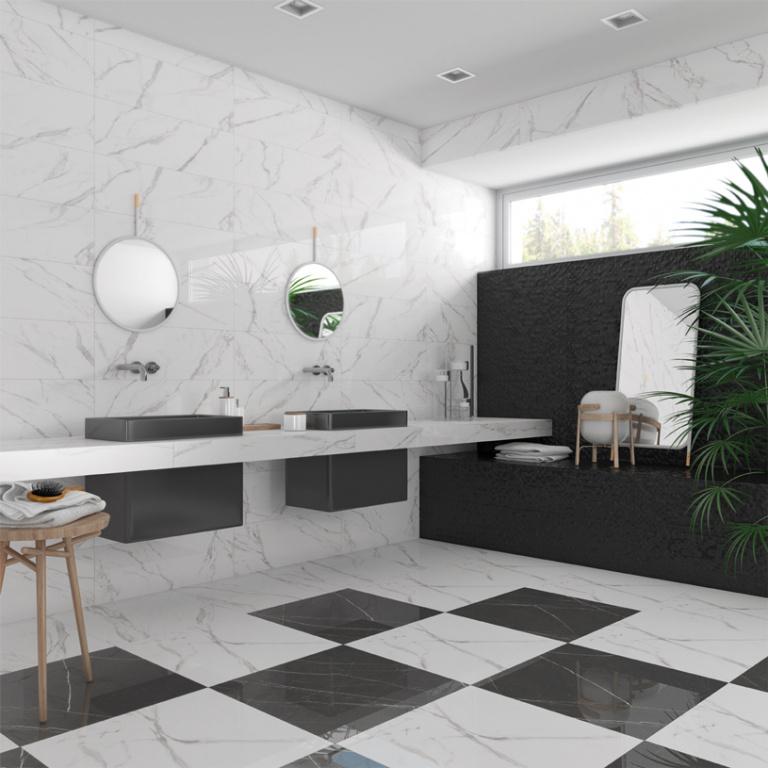 Koupelna se vzhledem šachovnice Arcana Hope Blanco a Negro