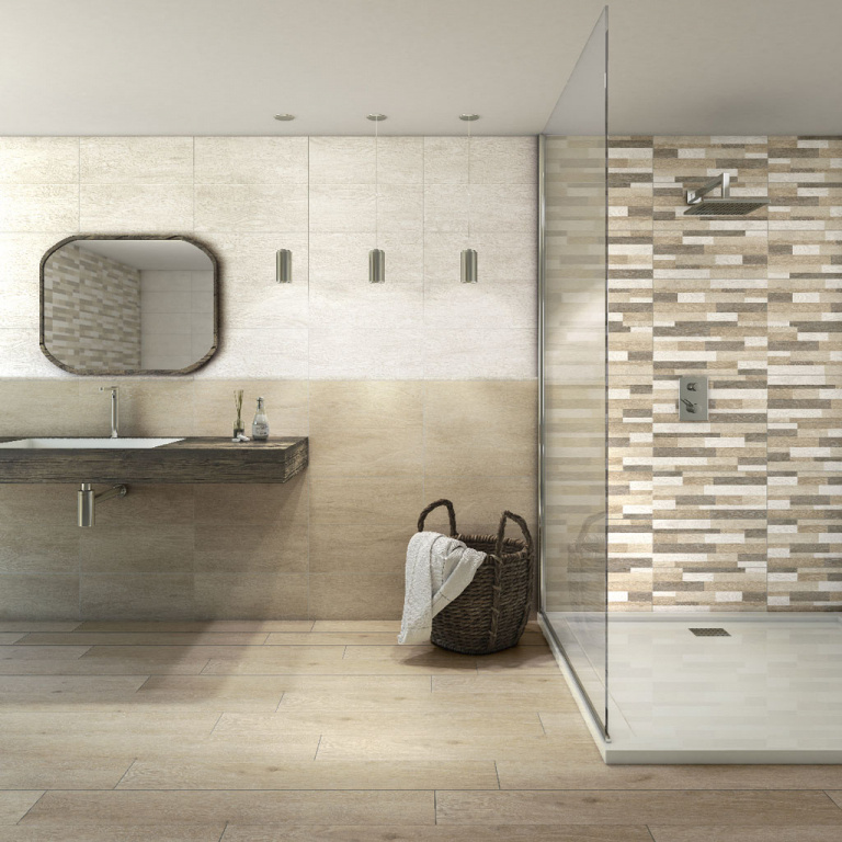 KOUPELNOVÉ OBKLADY a mozaika s texturou dřeva Tuscania Decape