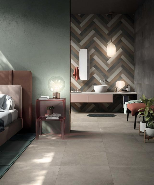 Nevšední obklady do koupelny v imitaci kůže Ariana Ceramica Italiana Worn
