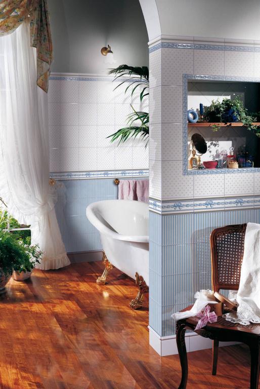 Dekorativní modrý OBKLAD do koupelny Brennero Ricordi Romantica Bleu